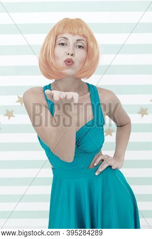 Lady Red Ginger Wig Posing In Blue Dress. Comic Actress Concept. Woman Playful Mood Having Fun. Lady