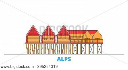 Germany, Alps, Prehistoric Pile Dwellings Line Cityscape, Flat Vector. Travel City Landmark, Oultine