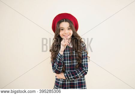 Teenage Fashion. French Fashion. Child Small Girl Happy Smiling Baby. Happy Childhood. Pure Beauty.