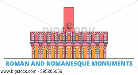 France, Arles, Roman And Romanesque Monuments Landmark Line Cityscape, Flat Vector. Travel City Land