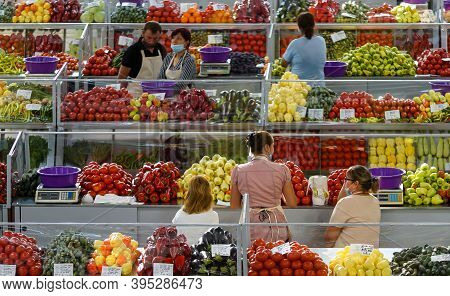 Bucharest, Romania - August 11, 2020: The Stalls Of The New Agri-food Market Piata Sudului During Th