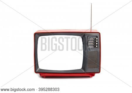Small old analogue TV set blank white copy space