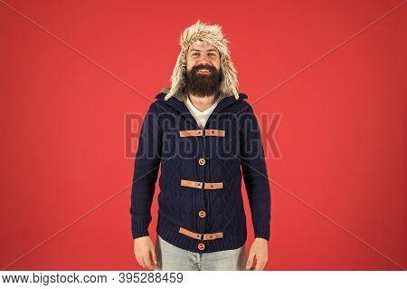 Fashion Menswear Shop. Masculine Clothes Concept. Winter Menswear. Clothes Design. Man Bearded Stand