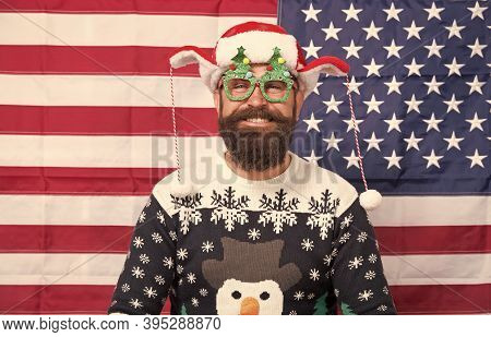 Spirit Of Patriotism. Christmas Tradition From United States Of America. American Customs. Brutal Ma