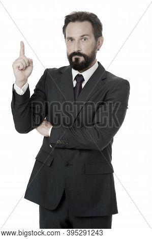 Man Advisor Pointing Advertisement Isolated On White. Check Out Financial Advisor. Business Advisor