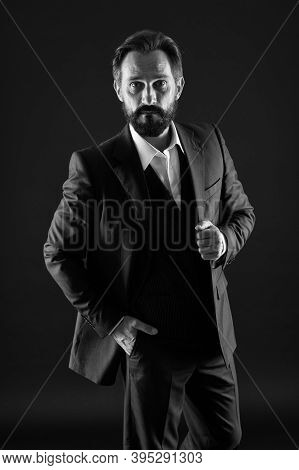 Classics Eternal Value. Bearded Man With Formal Look. Businessman Black Background. Mature Man In Tu