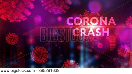 Corona Crash - Hand-drawn Graph On Chalkboard Showing Stock Market Collapse Or Financial Economy Cri
