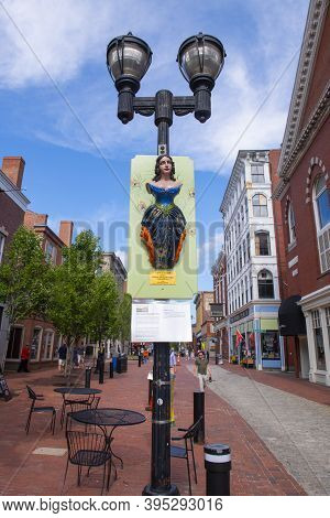 Salem, Ma, Usa - Jul. 19, 2019: Lady Of Salem Statue In Salem, Massachusetts Ma, Usa. The Original F