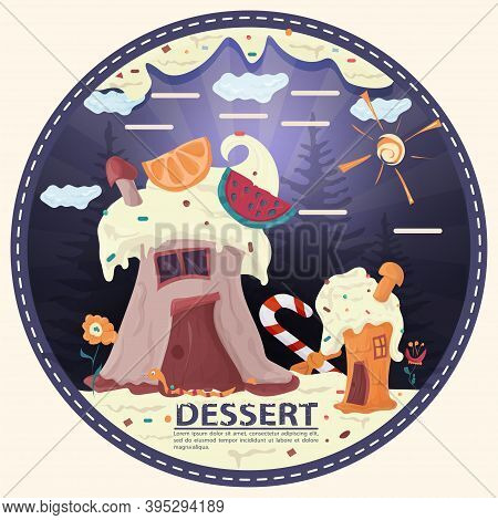 Two Cupcake Houses In A Glade Of Icing With Flowers, With The Inscription Dessert, Round Sticker Fla