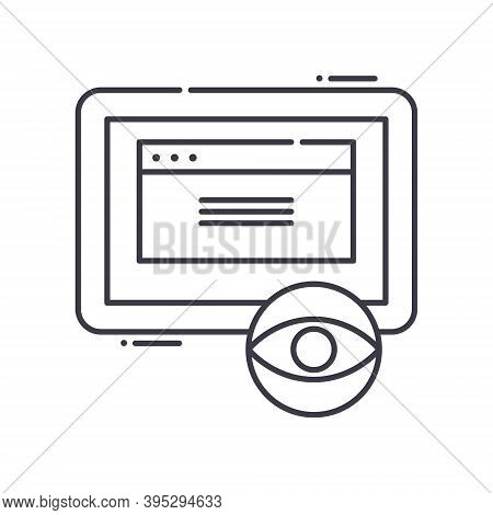 Spyware Icon, Linear Isolated Illustration, Thin Line Vector, Web Design Sign, Outline Concept Symbo