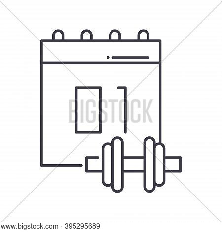 Sport Shedule Icon, Linear Isolated Illustration, Thin Line Vector, Web Design Sign, Outline Concept