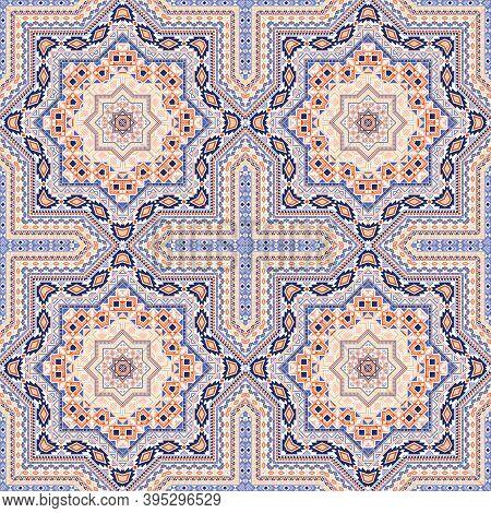 Flat Portugese Azulejo Tile Seamless Rapport. Geometric Texture Vector Patchwork. Carpet Print Desig