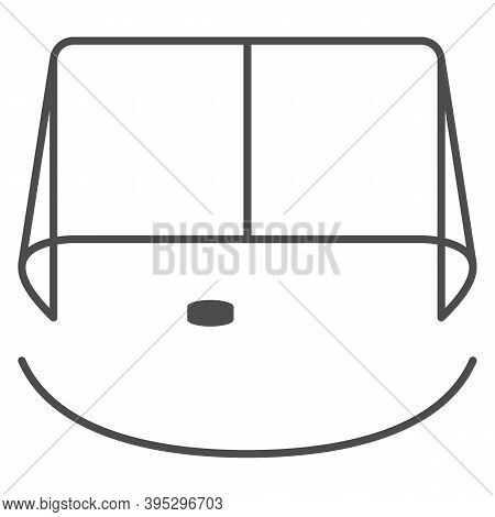 Hockey Goal Thin Line Icon, Winter Sport Concept, Gates Goalie For The Game Of Hockey Sign On White