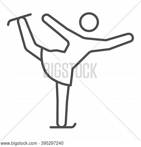 Figure Skater Performs Exercise Thin Line Icon, Winter Sport Concept, Figure Skating Symbol On White