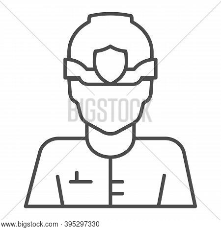 Police Officer In Helmet Thin Line Icon, Law Enforcement Concept, English Police Sign On White Backg