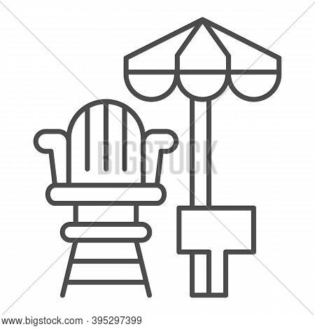 Lifeguard Chair And Beach Umbrella Thin Line Icon, Aquapark Concept, First Aid And Rescue On Beach S