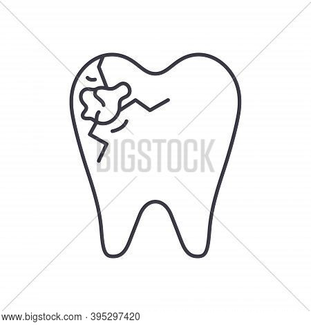 Tooth Decay Icon, Linear Isolated Illustration, Thin Line Vector, Web Design Sign, Outline Concept S