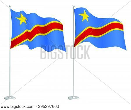 Republic Of Congo Flag On Flagpole Waving In Wind. Holiday Design Element. Checkpoint For Map Symbol