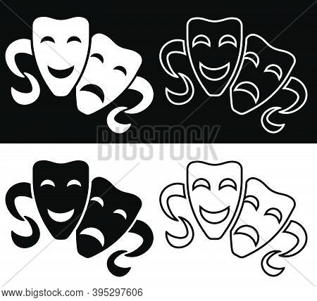 Set Of Comedy And Tragic Theatrical Masks Icons. Theatrical Premieres, Circus Poster. Vector