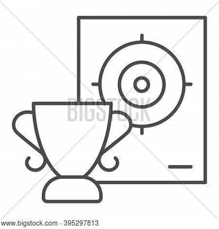 Cup And Target Thin Line Icon, Self Defense Concept, Shooting Range And Goblet Sign On White Backgro