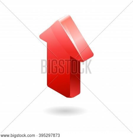 3d Red Arrow Icon. Three-dimensional Illustration Of An Arrow With Rounded Corners. Perfect For Desi