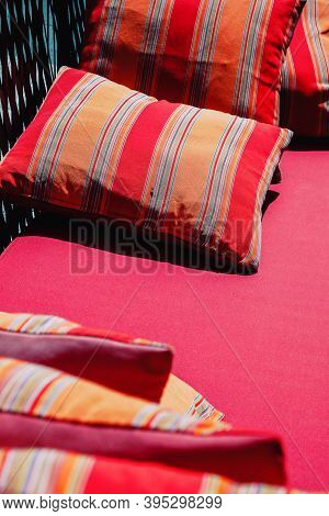 Image Of Colorful Cushion In Sofa Background