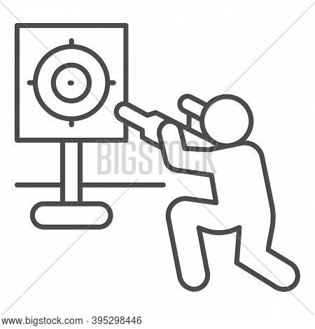 Shooter And Target Thin Line Icon, Self Defense Concept, Shooting Range Sign On White Background, Tr