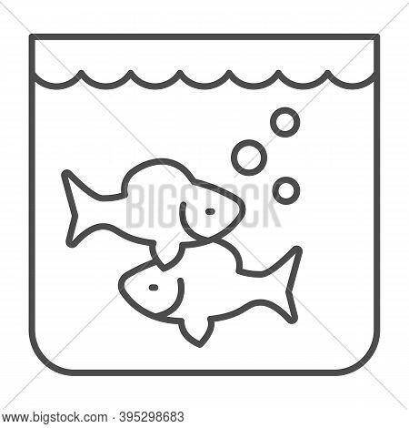 Aquarium With Fish Thin Line Icon, Fish Market Concept, Underwater Aquarium House Sign On White Back