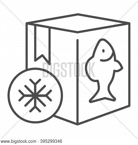 Frozen Fish In Box Thin Line Icon, Fishing Concept, Refrigerator Container For Seafood Sign On White