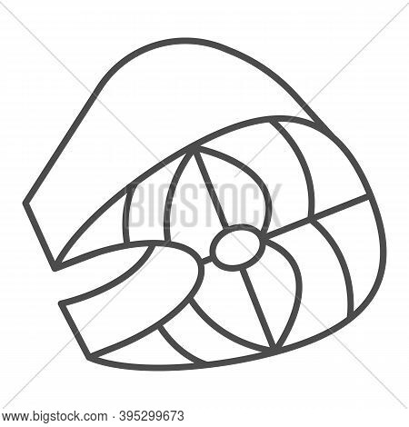 Piece Of Salted Herring Thin Line Icon, Fish Market Concept, Fish Slice Sign On White Background, Sl
