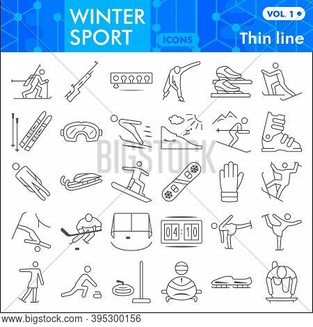 Winter Sport Thin Line Icon Set, Tools Of Winter Sports Symbols Collection Or Sketches. Extreme Spor