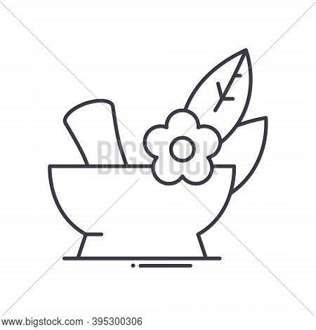 Spa Mortar And Pestle Icon, Linear Isolated Illustration, Thin Line Vector, Web Design Sign, Outline