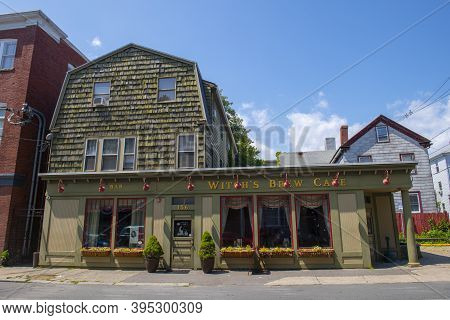 Salem, Ma, Usa - Jul. 25, 2019: Historic Witch's Brew Cafe At 156 Derby Street In Historic Town Sale