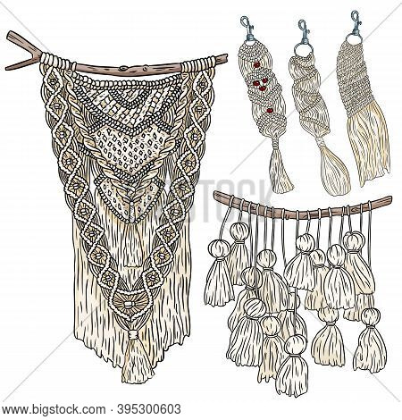 Set Of Macrame Boho Style Wall Hangers And Keychains Doodle Sketches. Collection Of Textile Knotting