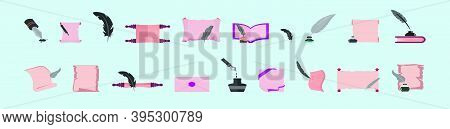 Set Of Old Feather Pen, Ink And Papyrus Icon Design Template With Various Models. Modern Vector Illu