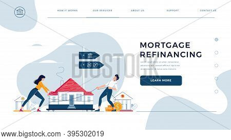 Mortgage Refinancing Homepage Template. Co-borrowers Push, Drag A Home To The Bank For House Pawning