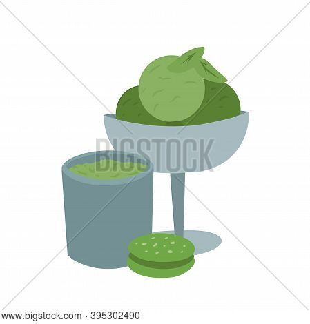 Japanese Matcha Green Tea Powder. Sweets From The Matcha. Cup Of Tea, Ice Cream, Cookie And Green Le