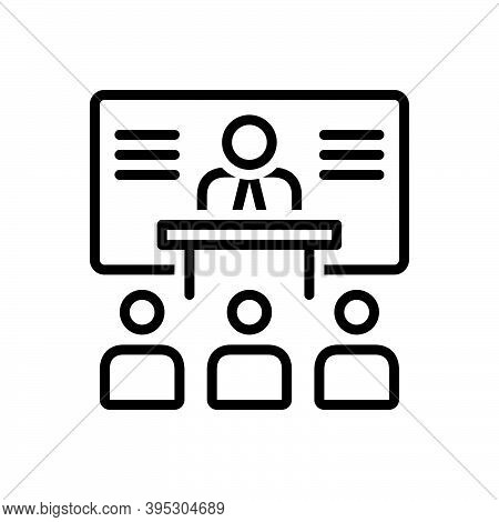 Black Line Icon For Training Instruction Teaching Coaching Tuition Tutoring People