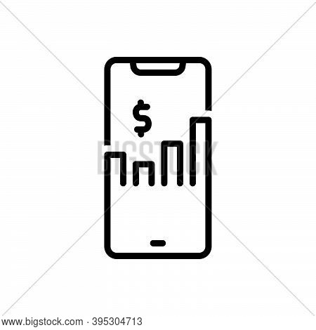 Black Line Icon For Business Commerce Trading Market Merchandise Analyst Accounting Device Finance I