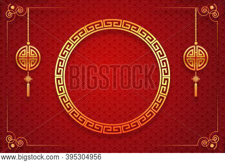 Happy Chinese New Year Card. Red Background With Traditional Asian . Chinese Mean Happy New Year, We