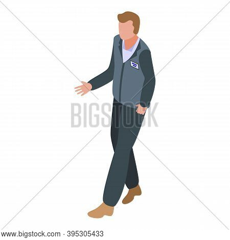 Bank Man Worker Icon. Isometric Of Bank Man Worker Vector Icon For Web Design Isolated On White Back