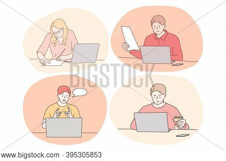 Online Communication, Elearning, Distant Working, Paying Online Concept. Young Women And Men Sitting