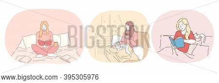 Relaxation With Book At Home, Lazy Bedding Time Concept. Young Positive Women In Comfortable Home Cl