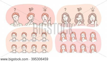 Emotions, Facial Expression Variety Concept. Male And Female Face With Various Positive And Negative