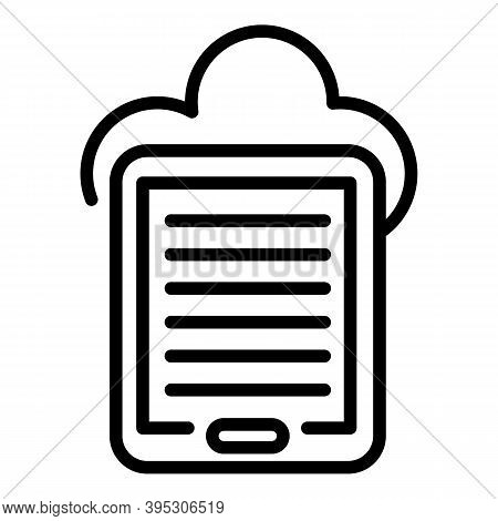 Ebook Data Cloud Icon. Outline Ebook Data Cloud Vector Icon For Web Design Isolated On White Backgro
