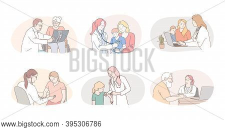 Medicare, Healthcare, Therapists, Paediatricians Working Concept. Professional Doctors Therapists An