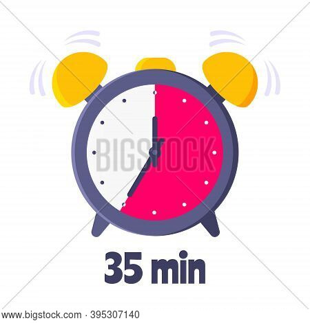 Thirty Five Minutes On Analog Clock Face Flat Style Design Vector Illustration Icon Sign Isolated On