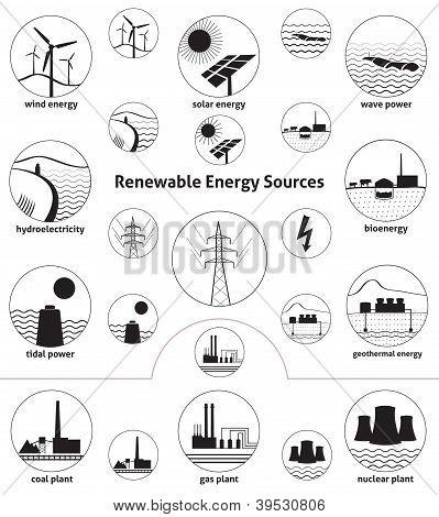 Renewable Energy Sources - Icon Set