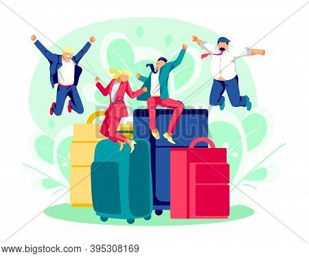 Tiny Tourists With Huge Suitcases. Excited Group Of Travelers Happily Jumping At Luggage Bags. Peopl