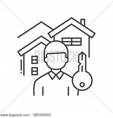 Landlord Icon, Linear Isolated Illustration, Thin Line Vector, Web Design Sign, Outline Concept Symb